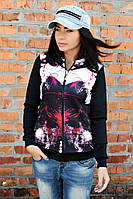 Бомбер принт Абстракция, женская одежда от производителя, недорого, дропшиппинг поставщик
