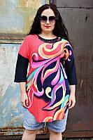 Туника большого размера Завиток, летняя туника большого размера, одежда больших размеров