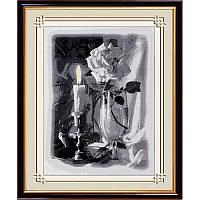 """Набор для рисования квадратными камнями """"Свеча и роза"""""""