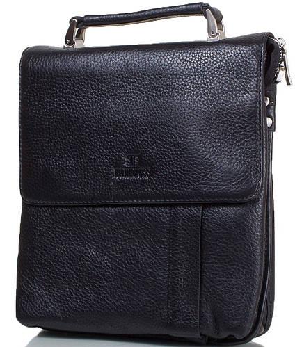 Удобная мужская сумка из натуральной кожи  LARE BOSS (ЛАРЕ БОСС) TU49560-3-black черный