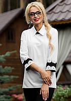 Офисная Женская Рубашка с Черным Кружевом на Спине M-2XL