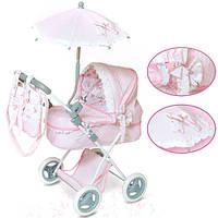 Коляска для куклы «Классик» с зонтиком и сумкой, розовая 85030