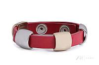 Женский кожаный браслет на руку кораллового цвета. Модель BYZ116012 Zaps.