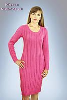Красивое женское вязаное платье. Кэти малина