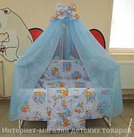 Детское постельное белье в кроватку голубое Мишка пчелка на луне Gold 9 в 1
