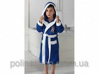 Детский халат для мальчика Philippus синий с ниндзя 5-6 лет.
