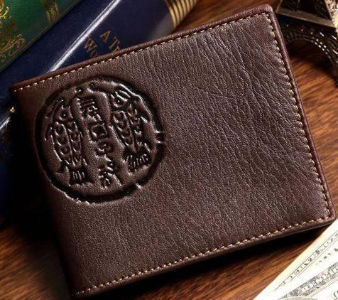 Потрясающий мужской кожаный кошелек S.J.D. 8010-2C коричневый