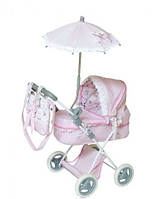 Коляска для кукол детская «Классик» с зонтиком и сумкой розовая 85030