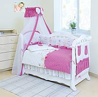 Хлопковая детская постель Twins Comfort С-019 Горошки, цвет ярко розовый