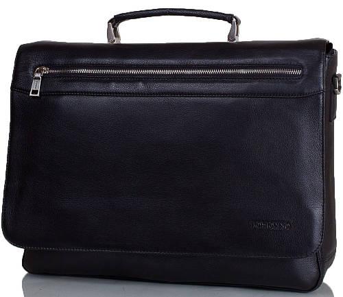 Мужской портфель из натуральной кожи TOFIONNO (ТОФИОННО) TU65080-1-black черный Размеры: 38х31х10 см.