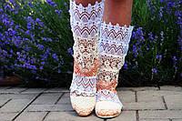 Модные кружевные летние полусапожки (белый-бежевый-персик)