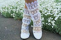 Модные летние белые сапожки из кружева макраме