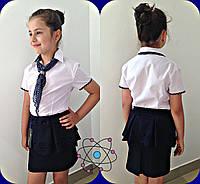 Детская рубашка для девочки с хусточкой в горошек