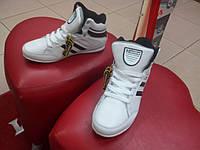 Кроссовки высокие подростковые, кожа белые Restime.