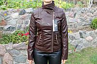Весенняя молодежная  куртка, кож.зам. Коричневая косуха