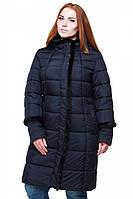 Качественная женская зимняя куртка темно-синего цвета