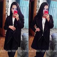Женское стильное черное пальто-накидка