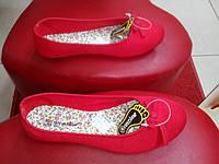 Женские красные балетки,  текстиль Restime