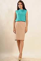 Блуза с воротником-стойка цвета бриз