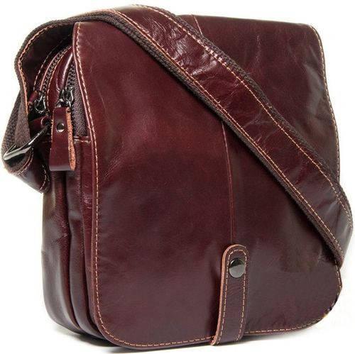 Выразительная мужская кожаная сумка через плечо Marranti M9011 коричневый
