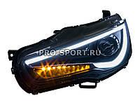"""Передние фары тюнинг Mitsubishi Lancer X 2007+ """"Audi Style"""", светодиодный поворотник,черные"""