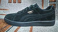 Подростковые кроссовки пума Puma Suede Classic натуральная замша полностью черные уличные casual