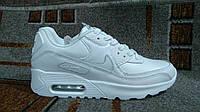 Подростковые женские городские кроссовки NIKE Air Max аир макс полностью белые уличные casual