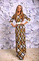 Красивое женское платье в пол в клетку горчица