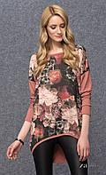 Женская стильная туника цвета корицы с цветочным принтом. Модель Pirea Zaps.