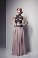 Длинное платье без рукавов с шифоновым низом и гипюровым верхом