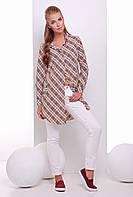 Модное платье-рубашка в клетку из рубашечной ткани 42-46 размеры