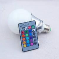 Разноцветная светодиодная лампочка на 12W E27 с пультом управления