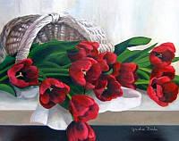 """Картина по номерам «Идейка» (КНО2064) художественный творческий набор """"Тюльпаны в корзинке"""" (Жаклин Брочу), 50x40 см"""