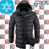 Длинная зимняя куртка мужская - 2-1421 черный