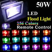 Светодиодный разноцветный прожектор на 50W c пультом дистанционного управления, фото 1