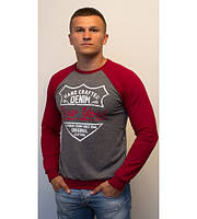 Стильная мужская кофта Denim NY серая с красными рукавами
