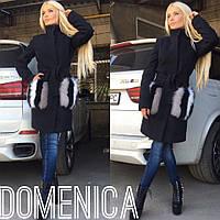 Женское стильное кашемировое пальто с меховыми карманами +(Большие размеры)