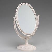 Красивые настольные зеркала. Пластик. 30 см беж.