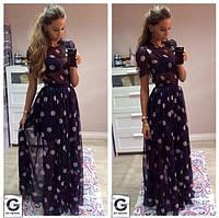 Длинное пышное платье в пол с короткими рукавами