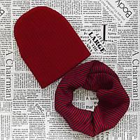 Детский демисезонный вязанный комплект: шапка и снуд