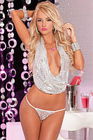 Jersey Wow! Sequin drape top set silver