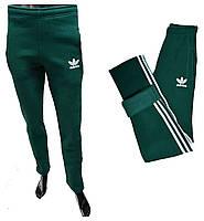 Мужские спортивные штаны Adidas теплые 180=350 зеленый цвет