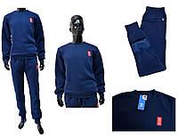 Мужской костюм Adidas на теплой подкладке темно-синего цвета