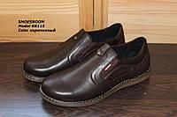 Туфли мужские коричневого цвета на резинках KR115