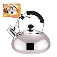 Чайник со свистком 3 литра (нержавейка). Из нержавеющей стали для газовой плиты. Нержавеющий чайник