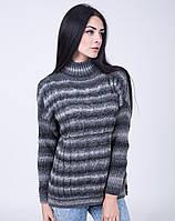 Модный женский свитер с воротником-стойкой