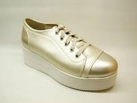 Туфли женские золотистые на шнурке Т634