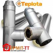 Комплект дымохода Termit 12 кВт, 6 метров, диаметр вн. 130 мм, нержавейка 0,4 мм в оцинкованном кожухе