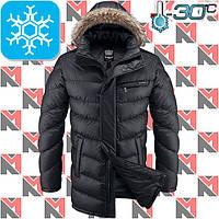 Зимние длинные куртки мужские - 2-4221 черный