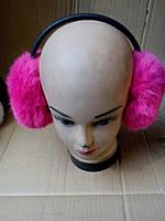 Зимние наушники из кроличьего меха, темно-розовые - код 29-411